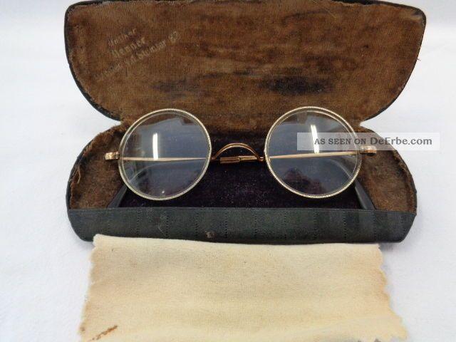 Antike Jugendstil Brille Gestempelt Golddoublé Mit Etui Accessoires Bild