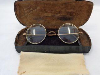 Antike Jugendstil Brille Gestempelt Golddoublé Mit Etui Bild