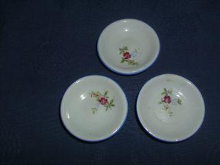 3 Schöne Alte Porzellan Teller Mit Blumendekor Für Puppenküche/puppenstube Bild