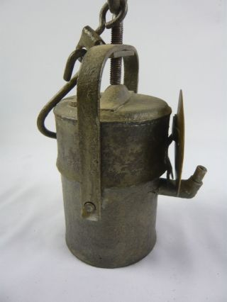 Grubenlampe Karbidlampe Mit Reflektor - Old Carbide Mining Lamp W/ Reflector (iv) Bild