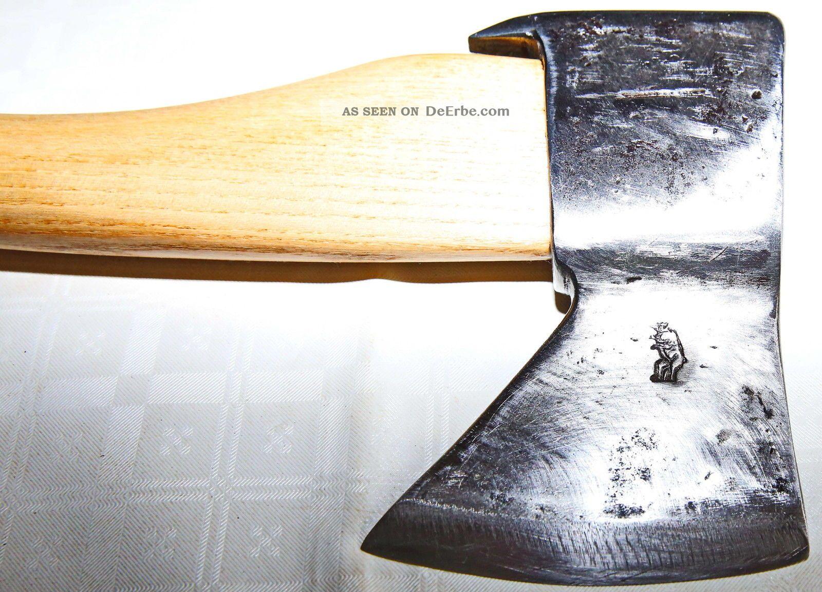 Altes Werkzeug,  Beil Zimmermann Rechts Mit Schmiedemarke Bär Top Qualität Zimmermann Bild