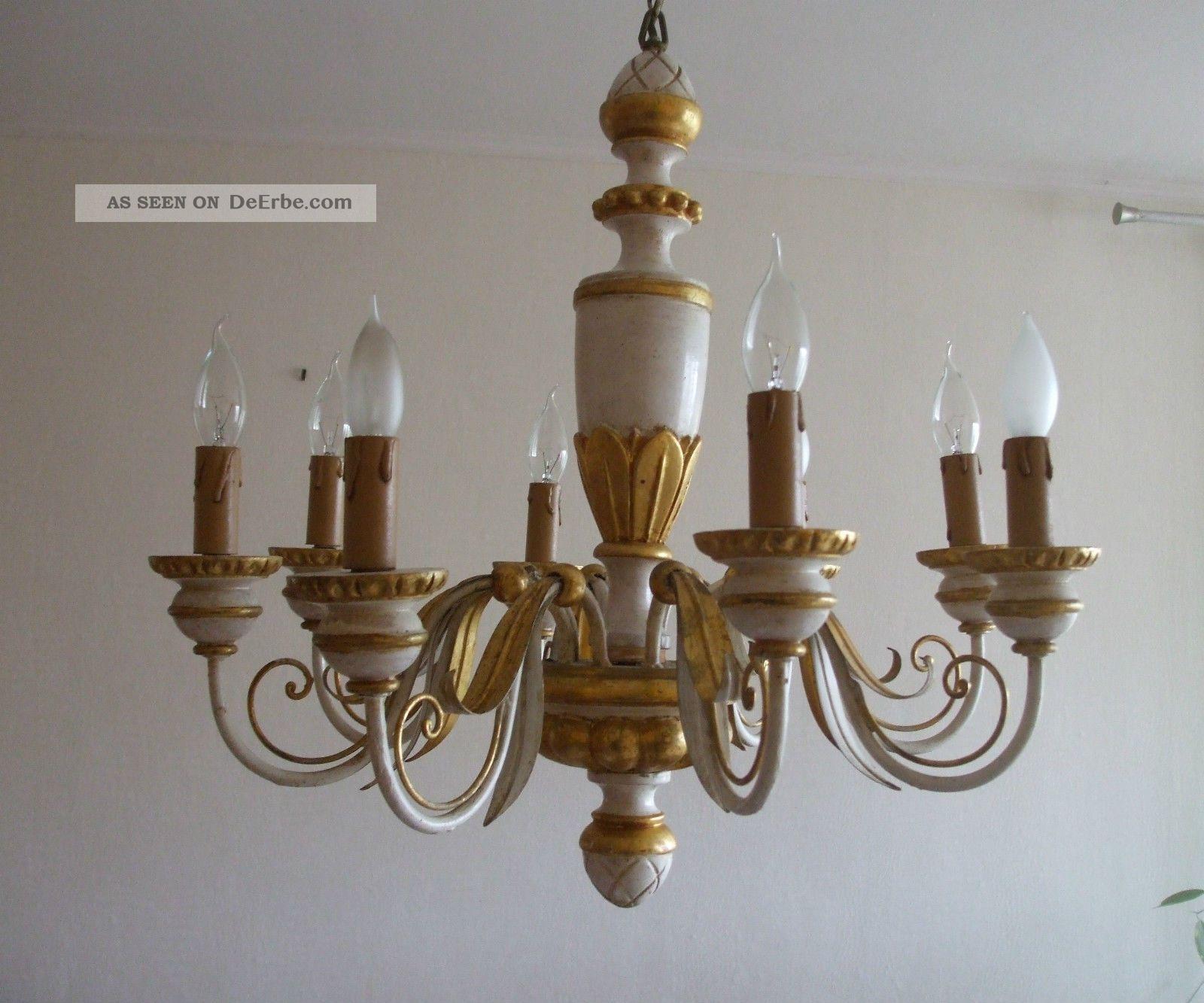 Kronleuchter Holz ~ Antiker kronleuchter lüster florentiner holz metall flammig gold