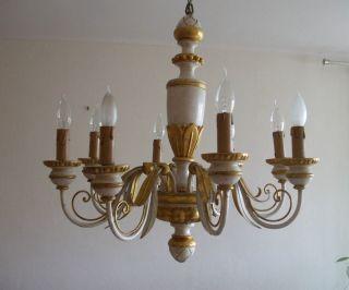 Antiker Kronleuchter Lüster Florentiner Holz Metall 8 Flammig Gold /weiß  Gefasst Bild