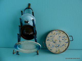 Alter Topfdeckelhalter Blech Blau Lackiert Um 1900 Puppenküche Bild