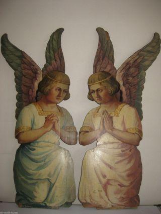 Ein Paar Kniende Engel Holz Gemalt Öl Neugotisch 1840 - 120 Cm Hoch Bild