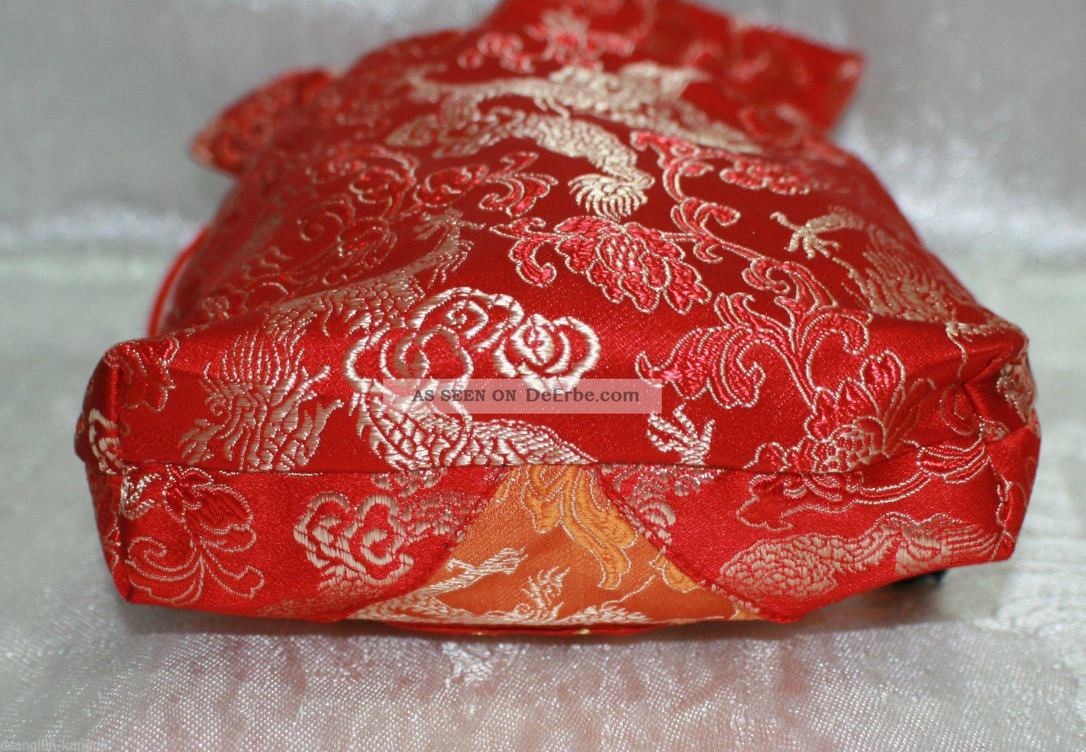 Malabag Schmuckbeutel Stoffsäckchen Gr.L Rot Lotos Verpackung TIBET NEPAL INDIEN