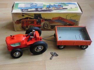 Blechspielzeug GÖso Traktor Mit Hänger Im Ok Nahezu Neuwertig Bild