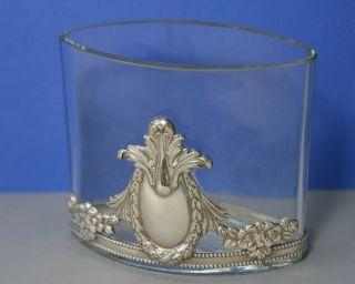 Ovale Krisall Vase Mit Silber Verzierung Bild