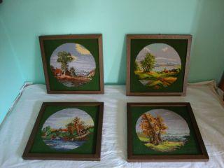 4 Stickbilder Stickbild Gobelinbild Gobelinbilder 4 Jahreszeiten Holzrahmen Bild