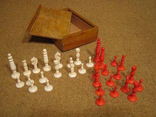 ▀ ▀ ▄ ▄ Uraltes Schachspiel Aus Bein - Vermutl.  Um 1880 - Bild