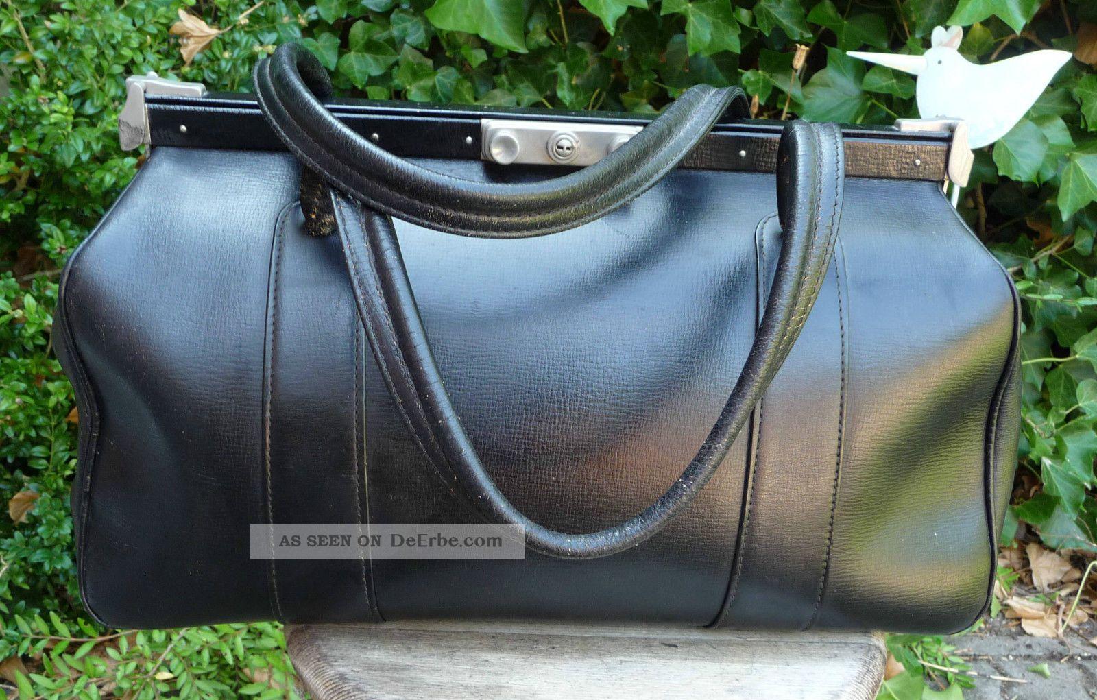 hebammenkoffer arzttasche henkeltasche alt leder schwarz gebrauchsf hig. Black Bedroom Furniture Sets. Home Design Ideas