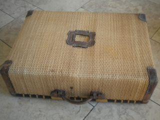 Schöner Großer Koffer,  Überseekoffer,  Korbkoffer,  Korb,  Leder,  Antik,  Alt Bild