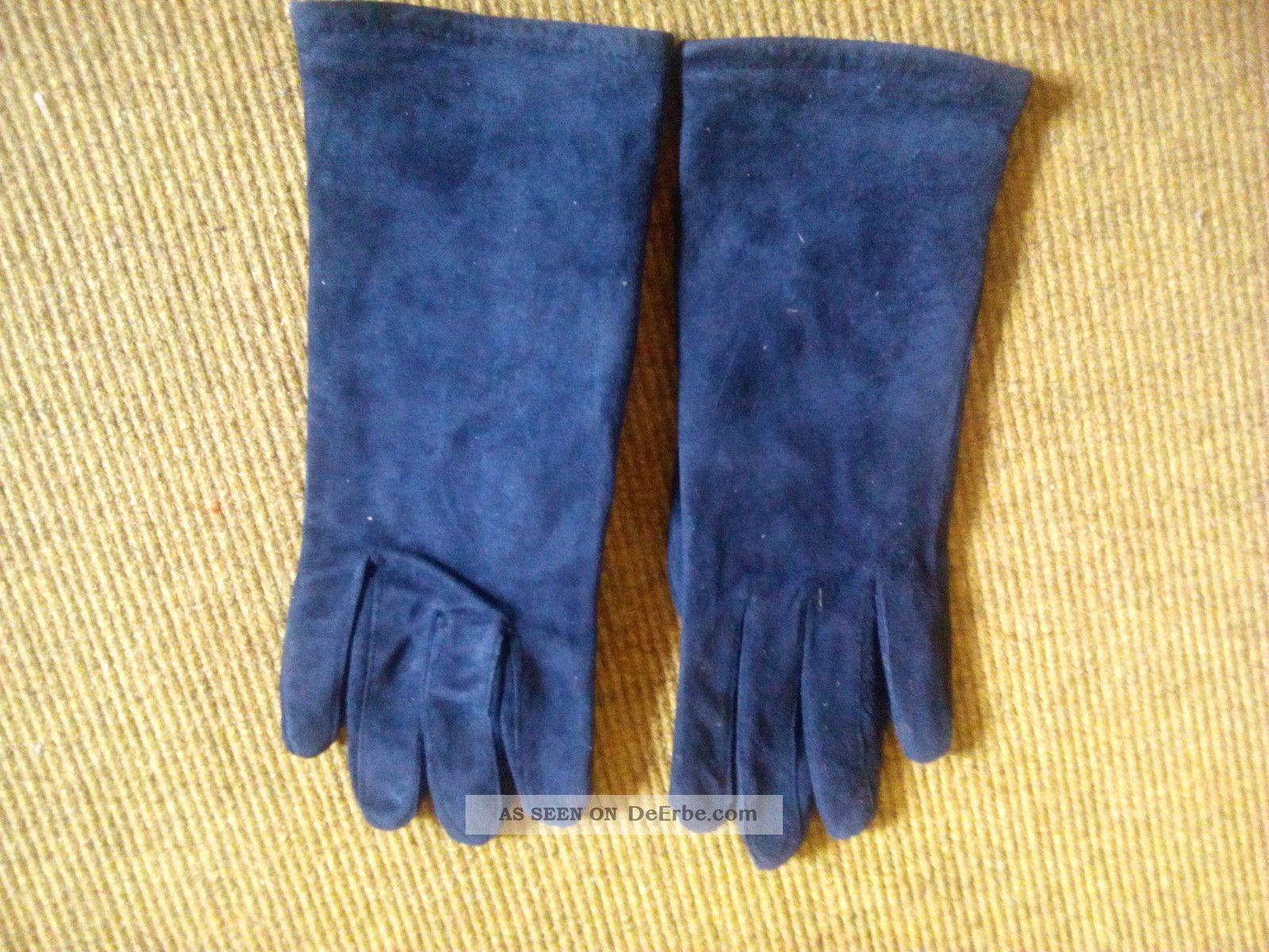 Wildlederhandschuhe Echtleder Blau True Vintage Ca.  Gr.  7 Accessoires Bild