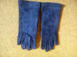 Wildlederhandschuhe Echtleder Blau True Vintage Ca.  Gr.  7 Bild