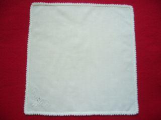 Sehr Altes Taschentuch Aus Leinen,  Weiß,  Mit Weißstickerei Und Häkelspitze Bild