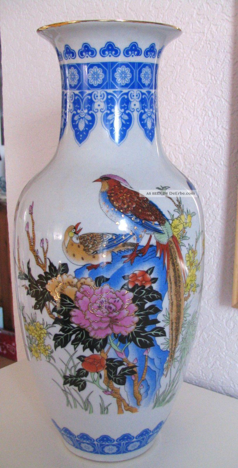 asiatische vase blumen vogel dekor handgemalt 36cm porzellan. Black Bedroom Furniture Sets. Home Design Ideas