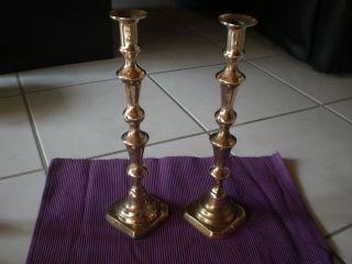 Zwei Alte Messing Kerzenständer Antik Bild