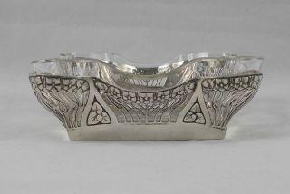 Rar Elegante Schale Florales Jugendstil In 800er Silber Mit Glaseinsatz Bild
