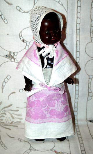 Süsse Schwarze Babypuppe - Puppe Mit Porzellan Kurbelkopf - Armand Marseille Bild