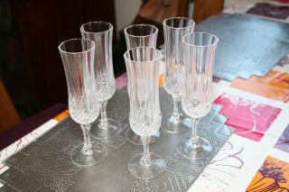 Cristal D ' Arques,  6x Champagner/sekt GlÄser,  Bleikristall,  Rautenschliff,  Top Bild
