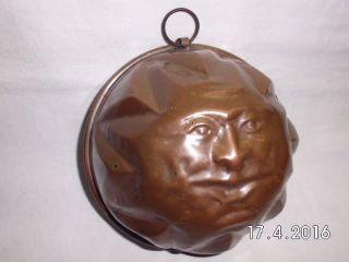 Antike Kupfer Backform,  Sonne Mit Geprägtem Gesicht Und Strahlen.  19.  Jh.  Rar Bild