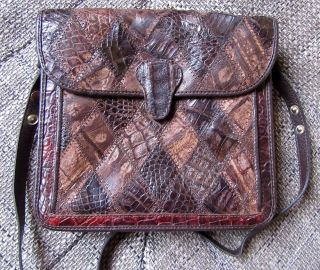 Irv Damen Krokotasche Handtasche - Echtes Leder - Krokodilleder - Kroko Leder Bild
