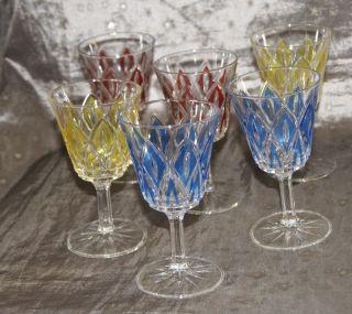 6 Farbige Weingläser Mit Stiel Ca 70er Jahre Bild