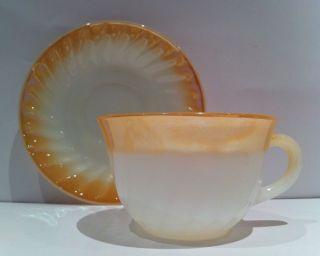 Fire King Anchor Hocking Oven Ware Swirl Shell Lustre Coffee Tea Cup,  Saucer Vtg6 Bild