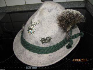 Trachtenhut Mit Gamsbart Und 4 Hutansteckern,  Lederband Innen Bild
