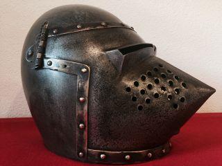 Eisen Helm - Hundsgugel - Beckenhaube Im Stil Um 1400 Absolut Selten Bild