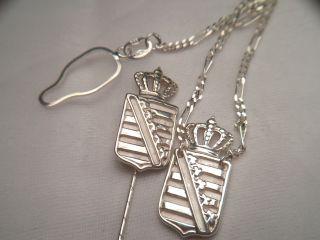Trachtenschmuck Wappen 925 Ggs Silber Krawattennadel,  Halter Mit Kette 5,  5 Gr Bild