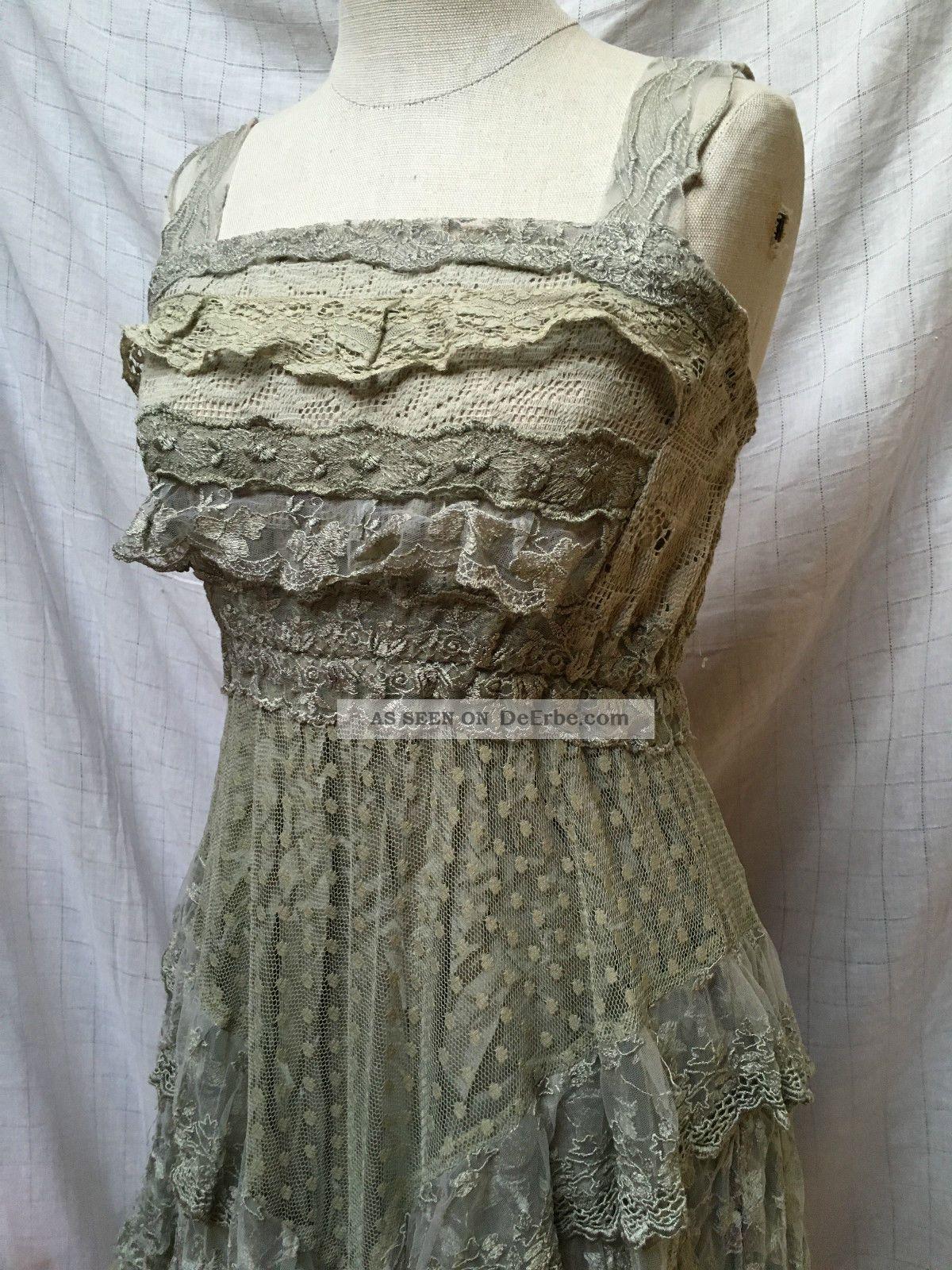 Sommerkleid Spitzenkleid Kleid Spitze Lindgrün Xs 34 Empire Elfenkleid Tüll Kleidung Bild