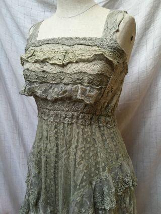 Sommerkleid Spitzenkleid Kleid Spitze Lindgrün Xs 34 Empire Elfenkleid Tüll Bild