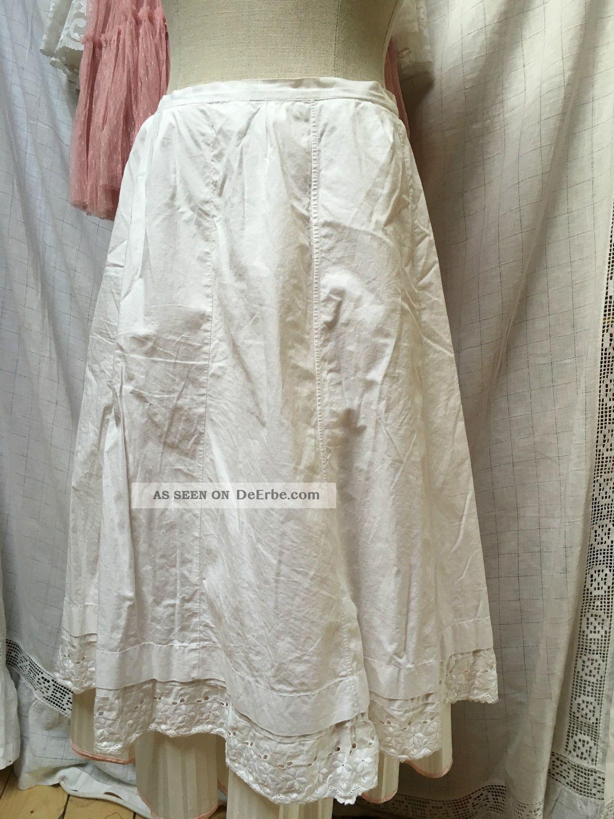 Schlichter Unterrock Rock Baumwolle Weiß Trachtenunterrock Xs S 34 36 Lochspitze Kleidung Bild