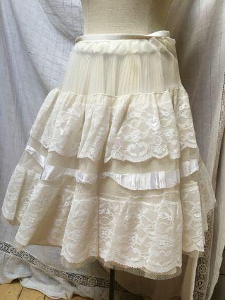 Petticoat Unterrock Weiß Durchsichtig Perlon Spitze Xs S 34 36 Tüllrock Rock Bild