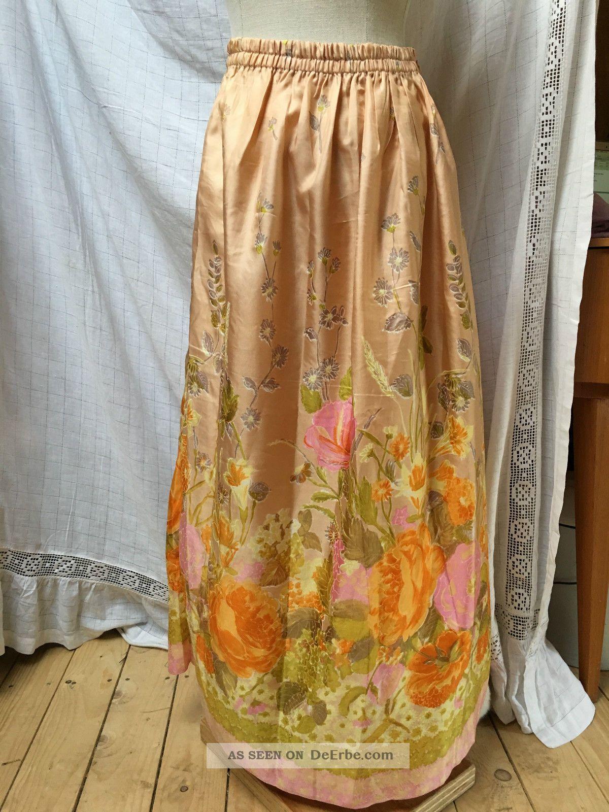 70er Unterrock Sommerrock Rock Blüten Lang S M L Xl Blumen Rosa Apricot Lachs Kleidung Bild