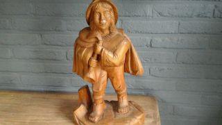 Holzschnitzerei Flöten Männchen 45cm Bild