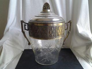 Eiseimer,  Champagnerkübel,  Bowlegefäß,  Pokal,  Historismus,  Jugendstil,  Versilbert,  Rar Bild
