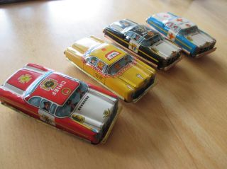 4x Tn Nomura Japan Blech Auto Tin Toy Car 1960er Nos Unbespielt Bild