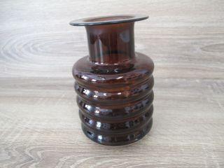 Runde Vase Blumenvase Glas Braun 60er 70er Jahre Höhe 15,  5cm, Bild