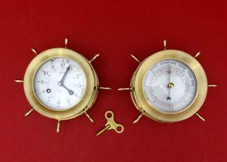 Schatz Glasenuhr 8 Day 7 Jewell Und Barometer Ships Bell Steuerrad - Kranz Bild
