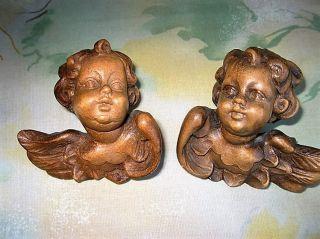 Wunderschöner Handgeschnitzter 2 Engelköpfe Holz Putten Bild