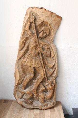 (art: H - 1259) Schönes Holzbild /relief Drachentöter Bild
