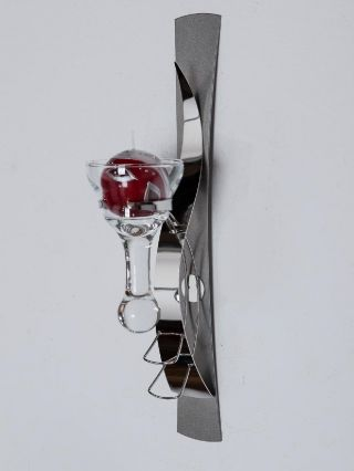 Wandleuchte Als Kerzenhalter In Eisen Silber Wandkerzenhalter Teelichthalter Bild