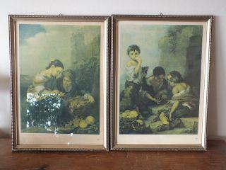 2 Wunderschöne Alte Bilderrahmen,  Stuck? Mit Alten Drucken,  Um 1930 O.  älter Bild