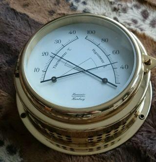 Hanseatic Hamburg - Thermometer - Hygrometer - Schiff - Maritim - Aus Messing Bild