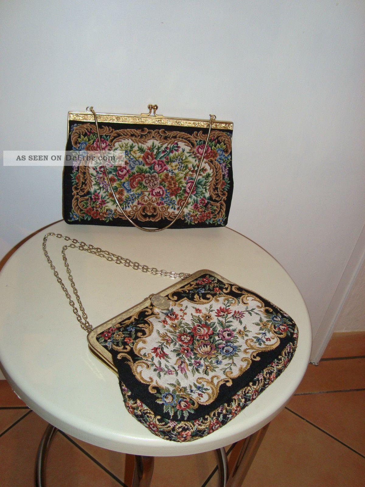 2 X Alte Gobelin Handtasche Mit Schönen Blumenmotiven Blumen Tasche Vintage Accessoires Bild