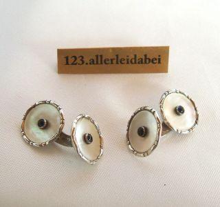 Perlmut Manschettenknöpfe 830 Er Silber Old Silver Cufflinks / Aq 742 Bild