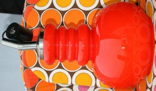 Große Kultige 70er Jahre Deckenlampe Glas Rot - Orange Bubble Space Age Bild