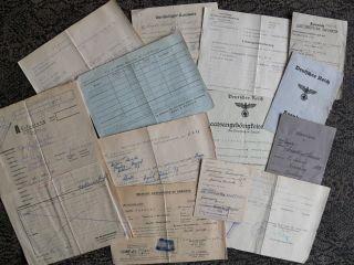 Konvult Alter Dokum.  (13) 1945 Ausweise Führersch.  Kennkarte Zeitgesch.  Interesant Bild